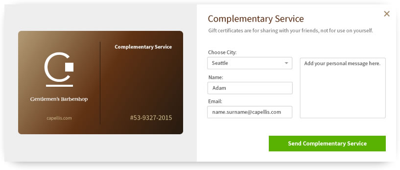Capelli's Gift Card Interface